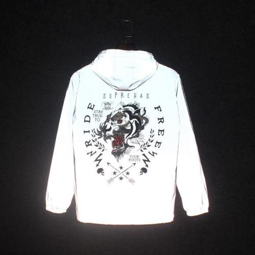Men's windbreaker 3M reflective jacket Man Waterproof fluorescent Sportswear hip hop coats manteau hooded Streetwear Jackets men