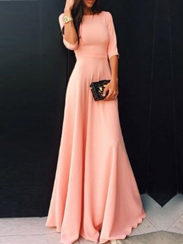 Round Neck  Plain Maxi Dress Evening Dress