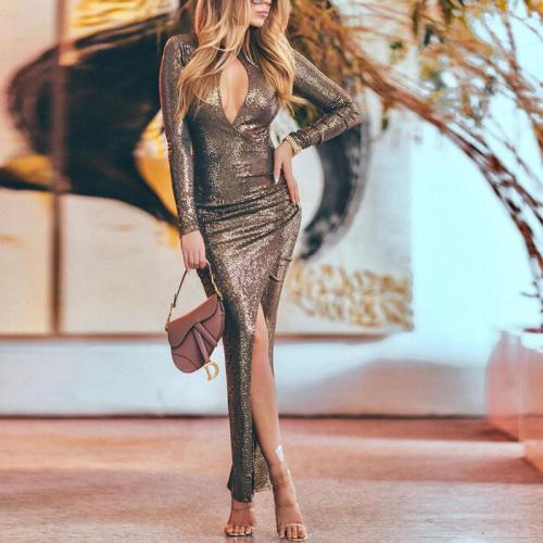 Elegant Sexy Long Sleeve Deep V Slit Evening Dress