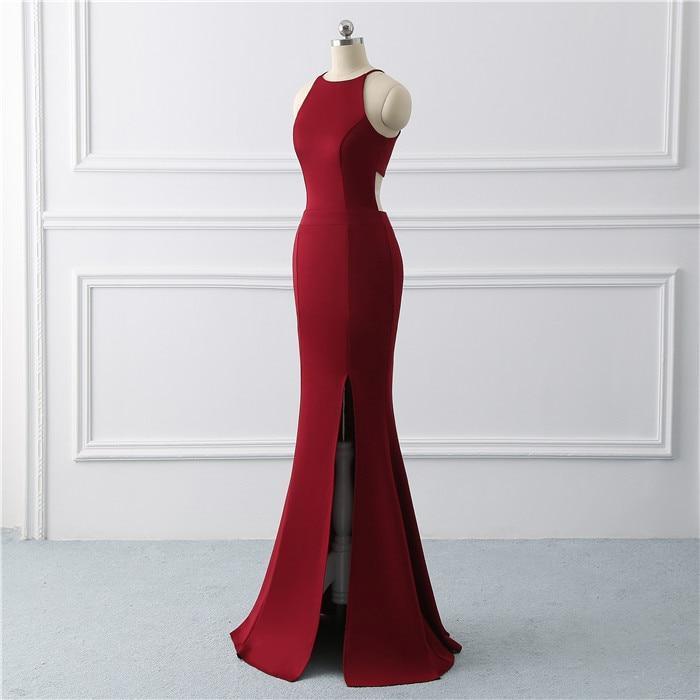 Burgundy sexy evening gown dress  Mermaid prom dress  stretch fabric Long Evening Dresses side slit Prom Dress  vestido de noiva