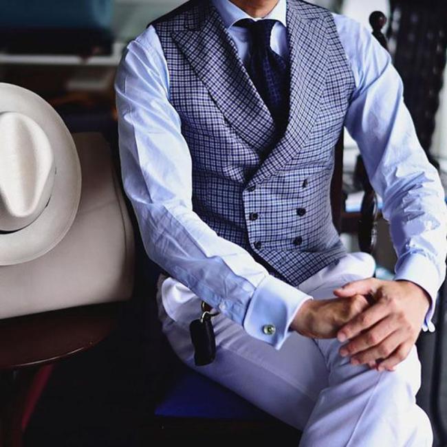 Men's fashion high-end business plaid vest