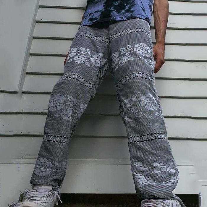 Vintage imitation black hollow casual loose mens pants TT010