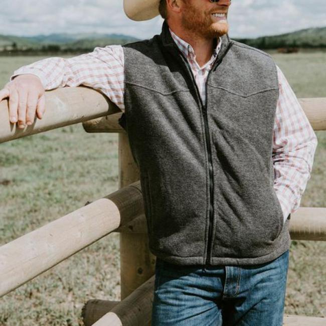Retro solid color collar zipper male vest