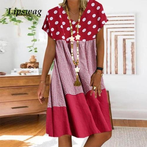 Vintage Short Sleeve Beach Dress Casual Polka Dot And Plaid Patchwork Print Dress Summer Sexy V Neck Women Party Dress Vestidos