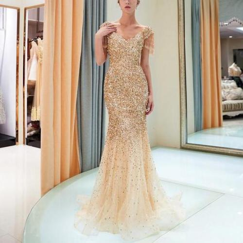 Sexy raglan sleeves V-neck gilded evening dress