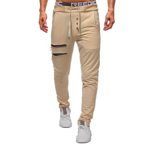 Zippered Decorative Slim Men's Trousers
