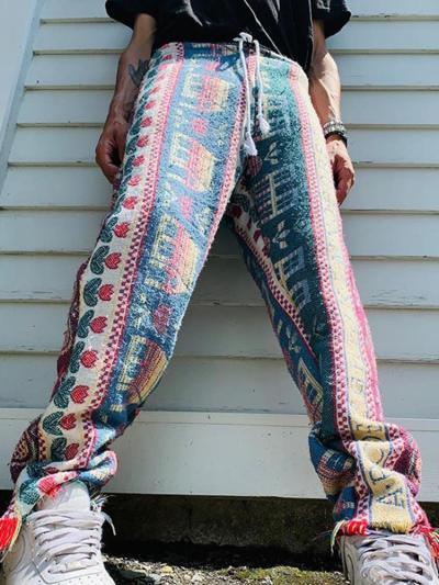 Colored patterned print casual loose mens pants TT010