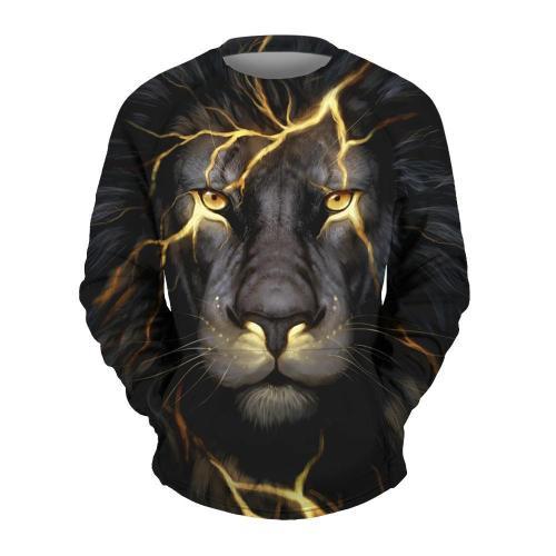 Men's Lightning Lion Print Crew Neck Sweatshirt