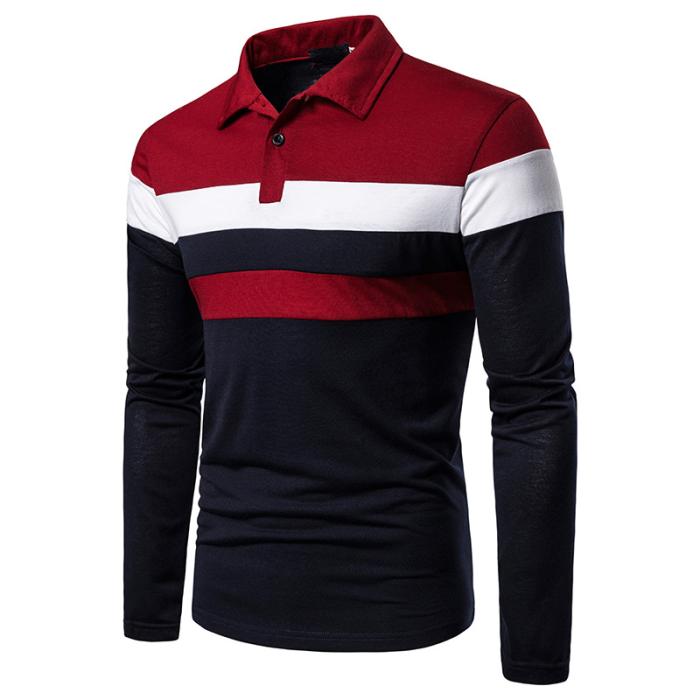 2020 Men Tri-Color Panel Lapel Polo Shirt