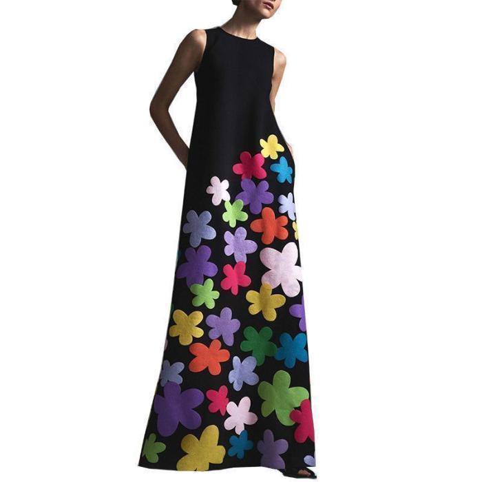 Fashion Round Collar Printing Maxi Dresses