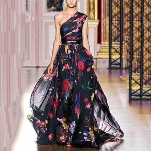 Fashion Single Printed Chiffon Maxi Dress