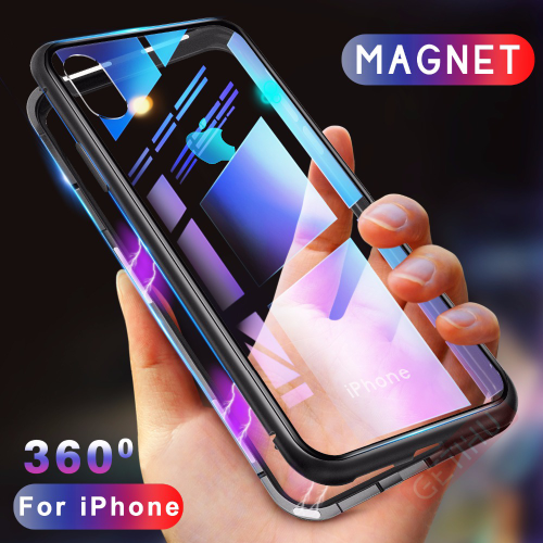 Magnetic Tempered Glass Adsorption Metal Case For iPhone