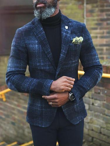 Fashion Turndown Collar Plaid Blazer
