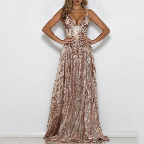 Sexy Halter Deep V Sequined Evening Dress