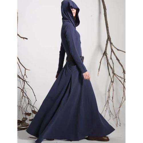 Fashion Cotton Linen Pure Colour With Hat Long Dresses Evening Dress
