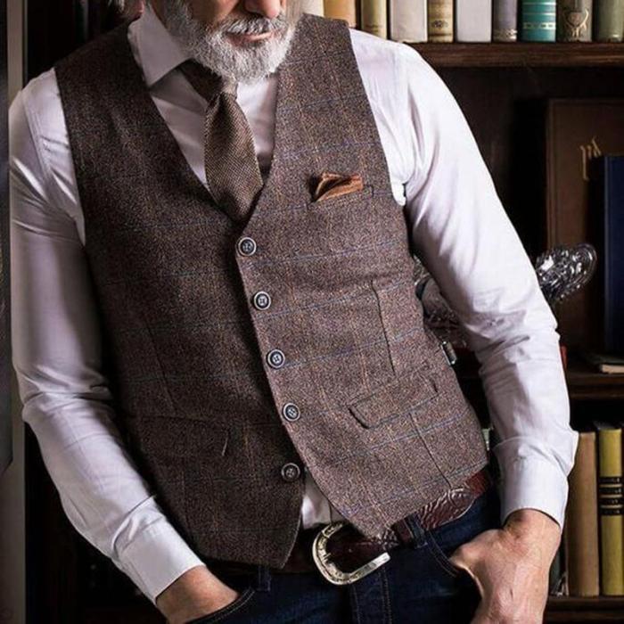 Vintage plaid v-neck single-breasted male vest