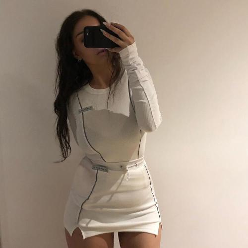 Casual Fashion Reflective Striped Two Piece Outfits Women Long Sleeve Top And Mini Skirt Set