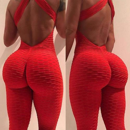 Sexy Women's Tracksuit Yoga Pants High Waist Gym Play suit  Slim Sport Backless Top Running Sportswear Soft Jumpsuit Hip lifting
