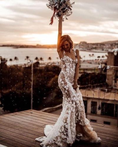 2020 Chic Bohemia Mermaid Wedding Dress Sexy See Through Lace Wedding Gowns Romantic Vestido De Noiva