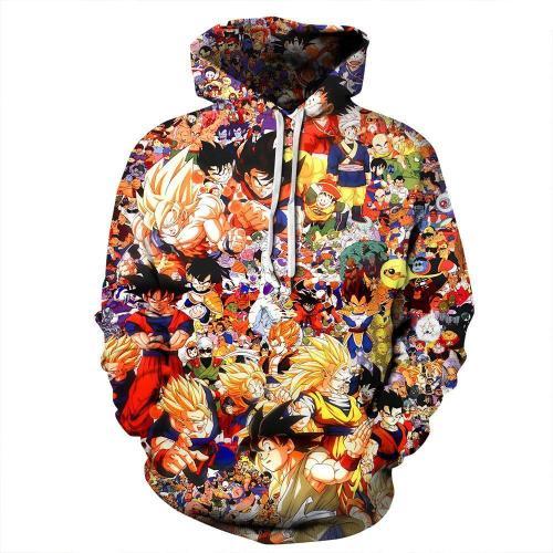 Dragon Ball Son Goku Print Loose Anime Hoodie Long Sleeve Sweatshirt Jacket