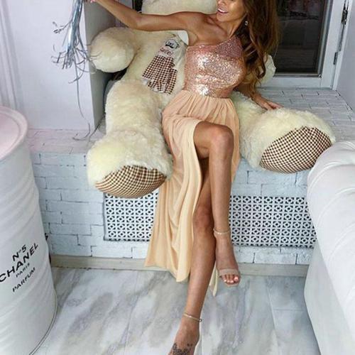 Fashion Stitching Sequin Evening Dress