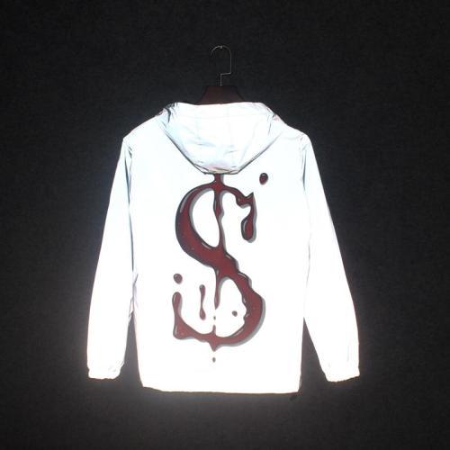 Men 3M Reflective Jackets Spring Autumn Casual Windbreaker Hooded Zipper Letter  S  Coats Waterproof Windproof Outwear jacket