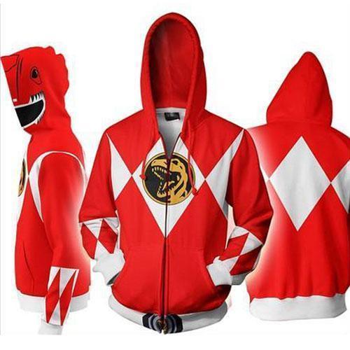 Power Rangers 3D Zip Up Long Sleeve Hoodie