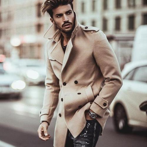 Business Fashion Slim Solid Color Button Lapel Long Sleeve Suit Men Outerwear
