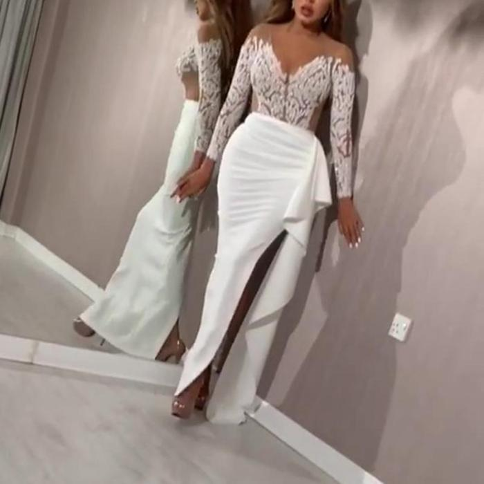 Long Sleeve Sequin Split Wrap Evening Dress