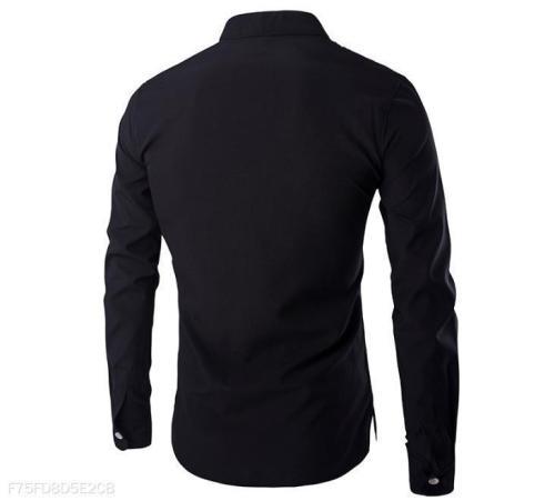 Fashion Business Plain V Collar Long Sleeve Men Top