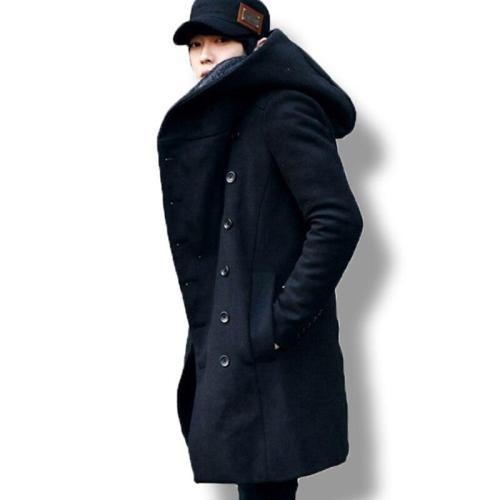 Men's winter vintage long cardigan 2018 male wool & blends hooded coat men manteau homme streetwear Kewlstyle Asian size TR07
