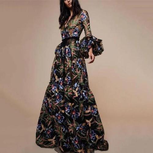 Sexy V-Collar Print Long-Sleeved Maxi Dress Evening Dress
