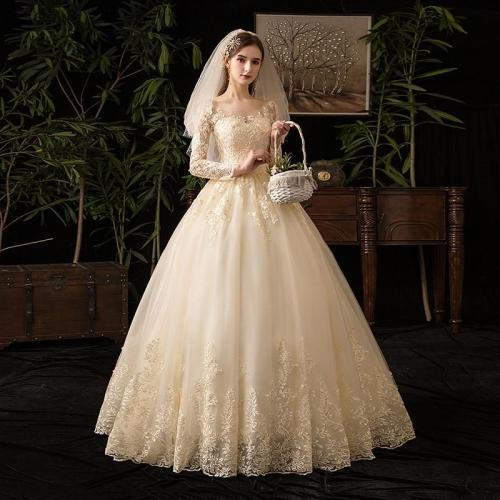 Champagne O Neck Full Sleeve 2019 New Wedding Dress Illusion Lace Embroidery Simple Custom Made Bridal Gown Vestido De Noiva L