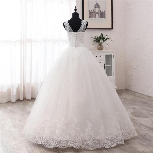 New Fashion simple V Neck Wedding Dresses off white Floor train Applique Sleeveless Ball Gown Princess Bridal Vestido De Noiva 6