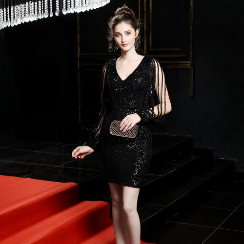 Long sleeve Mermaid Evening Dress prom gowns Formal Party evening Dresses Elegant Luxury short sequins evening gown