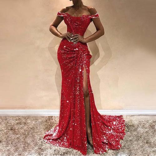 Sexy Word Shoulder Smocked Splicing Evening Dress