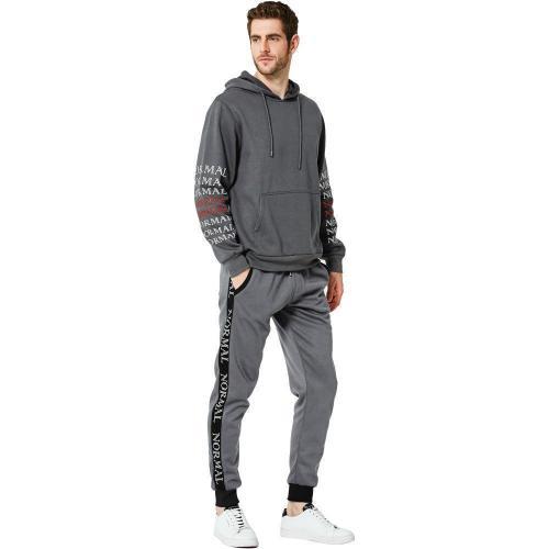 Casual Loose Printed Sleeve Hoodie Plain Pants Suit