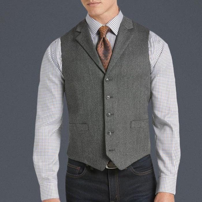 Classic casual solid color lapel vest