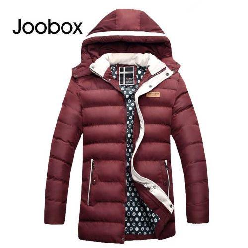 JOOBOX Casual Zipper Design Pure Color Male Warm Hooded Coat 3341