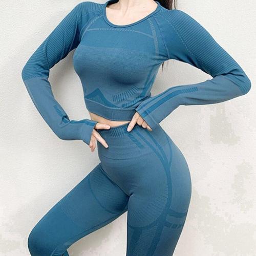 2 piece Sports Shirts Crop Top Seamless Leggings Sport Set Gym Clothes Fitness Tracksuit Workout Set Seamless Yoga Suit black
