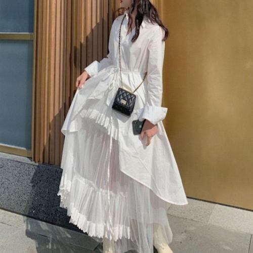 Boho Women Two Piece Sets Women 2020 Spring Korean Causal Long Sleeve White Shirts Coat  And Mash Long Dress Japan Young Girl