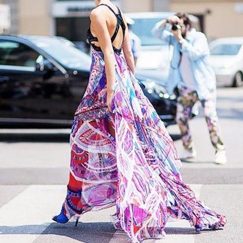 Women's Classy Color Printing Bare Back Dress Evening Dress
