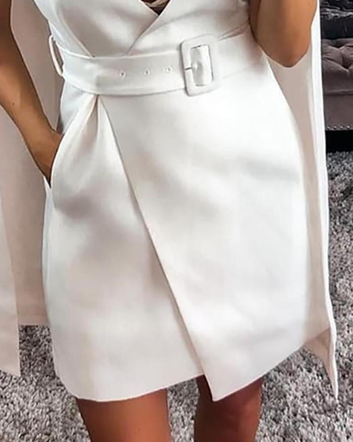 Solid Poncho Design Belted Dress