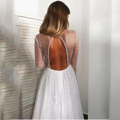 Open Back Deep V Big Swing Mopping Dress
