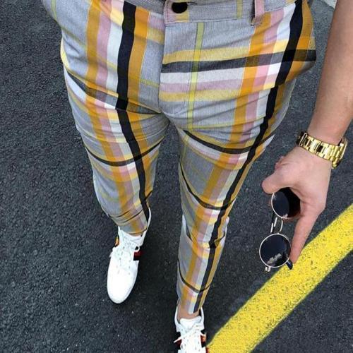 Fashion Men Color Block Casual Pants
