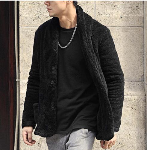 Fashion Plain Loose Cool Button Floss Coat