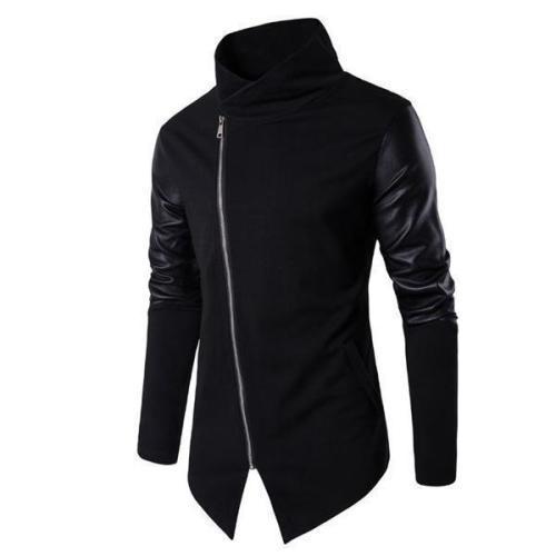 Fashion Youth Slim Leather Zipper Front Long Sleeve Men Outerwear