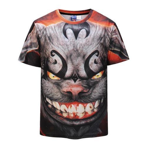 3D Bat Printed Loose Short Sleeve T-shirt