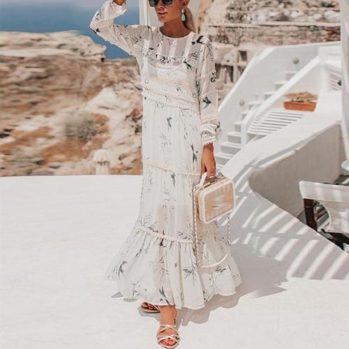 Round Neck Chiffon Print Paneled Ruffle Dress