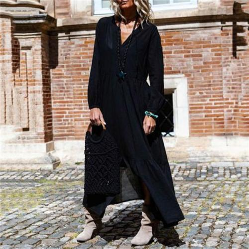 Fashion V  Collar Sleeves Casual Dresses